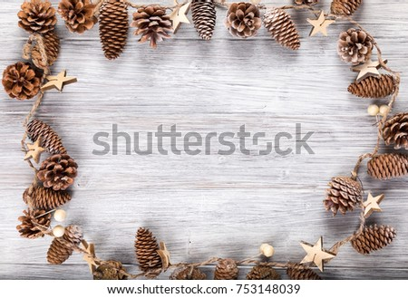 pine cone frame with copy space #753148039