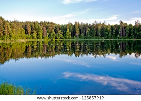 Pine forest and sky reflected in the lake. Russia