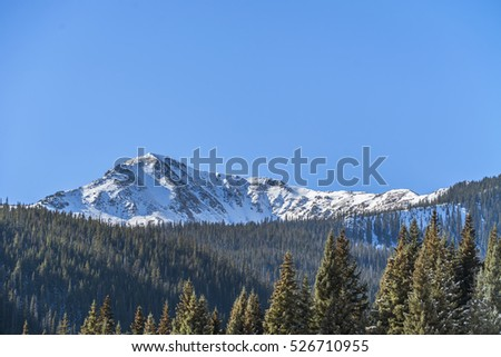 Pine Landscape with Snowy Mountains #526710955