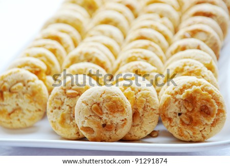 pine nut macaroons close up.