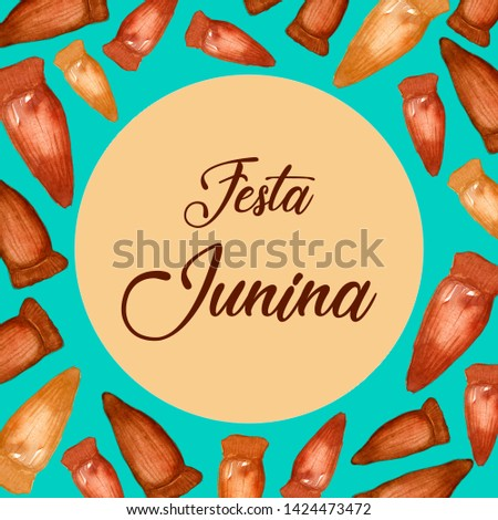 "Pine Nut Watercolor Ilustration. ""Festa Junina"" Celebration Theme. Brazilian Food. Brazilian Holiday. Portuguese Text Saying ""Junina Party""."