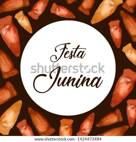 "Pine Nut Watercolor Ilustration. ""Festa Junina"" Celebration Theme. Brazilian Food. Brazilian Holiday. Portuguese Text Saying ""Junina Party""."