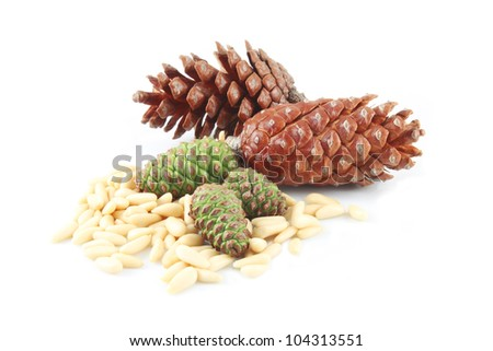 Pine nuts edible seeds Pignoli and cones