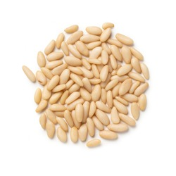 Pine Nuts – Heap of Pine Kernels, Unshelled Snack – Top View, Close-Up Macro, from Above – Isolated on White Background