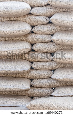 Pine pellets- stack of sacks- stock photo