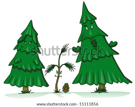 Pine Cone Family Pine Tree Family Cartoon With