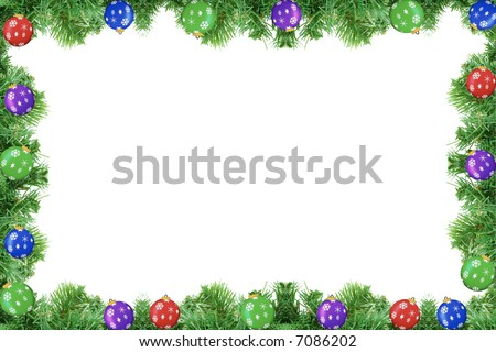 Pine tree frame with ornaments isolated on a white background