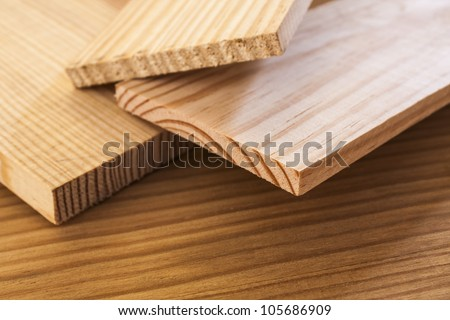 pine wood planks on table background
