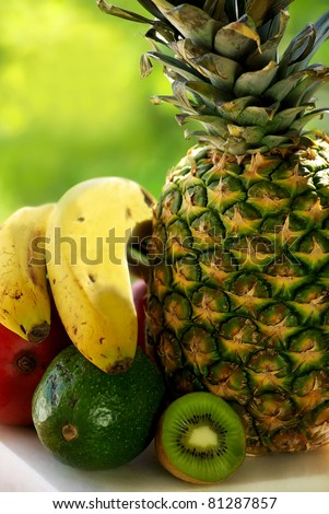 pineapple and fruits.