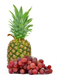 pineapple and grape wine on white background