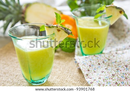 Pineapple and Guava smoothie - stock photo