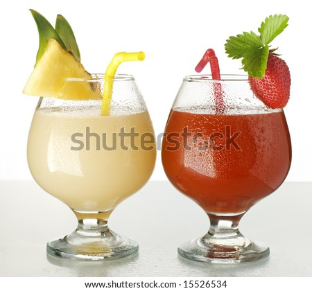 pineapple and strawberry juice close up shoot