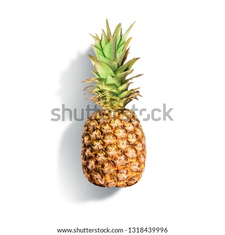 Pineapple at white background. Summer tropical fruits concept. Copy space.  Copy space for your design. Isolated