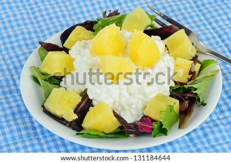 Pineapple chunks and cottage cheese on bed of lettuce.