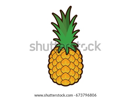 Pineapple clip art. Pineapple icon on a white background