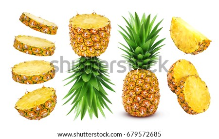 Pineapple collection. Whole and sliced pineapple isolated on white background #679572685