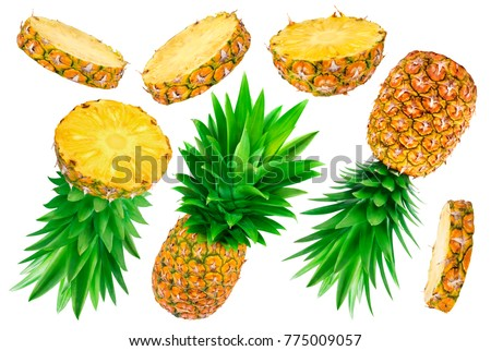 Pineapple collection. Whole and sliced pineapple isolated on white background stock photo