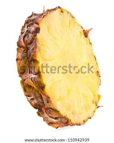 Pineapple fruit slice isolated on white