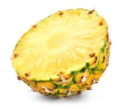 Pineapple half. Cut pineapple on white background. Pineapple isolate. Full depth of field.