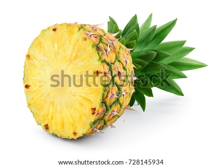 Pineapple half. Pineapple slice isolated on white. Pineapple with leaves. Full depth of field.