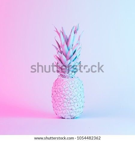 Pineapple in vibrant bold gradient holographic neon  colors. Concept art. Minimal surrealism background.