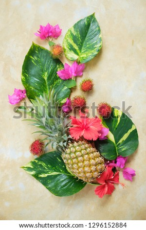 Pineapple Rambutan Flower Fresh Exotic Composition.  Exotic Fruit Floral #1296152884