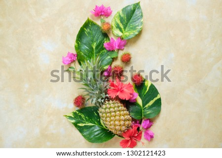 Pineapple Rambutan Flower Fresh Exotic Composition.  Exotic Fruit Floral #1302121423