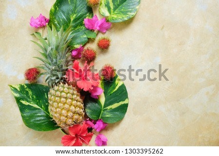 Pineapple Rambutan Flower Fresh Exotic Composition.  Exotic Fruit Floral #1303395262