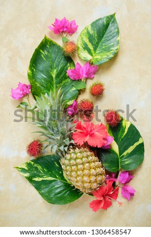 Pineapple Rambutan Flower Fresh Exotic Composition.  Exotic Fruit Floral #1306458547