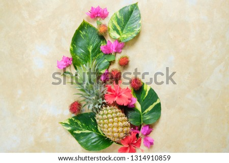 Pineapple Rambutan Flower Fresh Exotic Composition.  Exotic Fruit Floral #1314910859