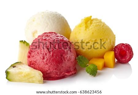 Shutterstock Pineapple, raspberry and mango ice cream sorbet balls isolated on white background