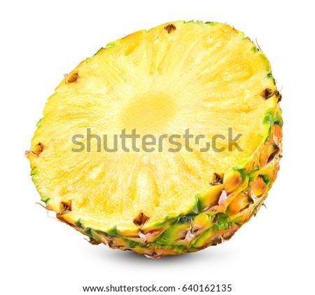 Pineapple slice isolated on white background. Fresh raw ripe fruit. stock photo