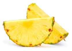 Pineapple slice isolated. Pineapple on white. Full depth of field. With clipping path