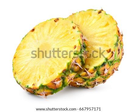 Pineapple slices isolated on white background. Fresh raw ripe fruit. stock photo