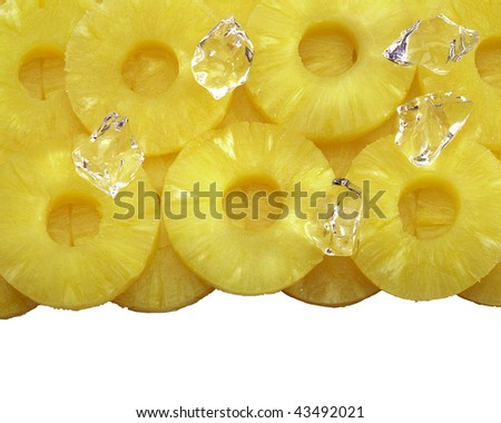 Pineapple slices with crushed ice clipping path included