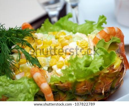 Pineapple stuffed  with Feta .Shallow depth-of-field.