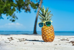 Pineapple sunglasses with yellow-rimmed palm trees sand island sea