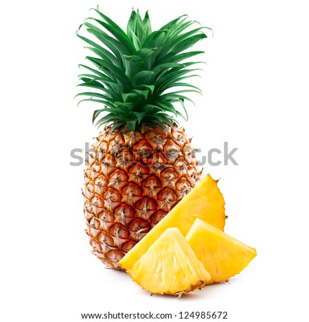 pineapple with slices isolated on white ストックフォト ©