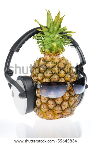Pineapple with sun glass and headphones
