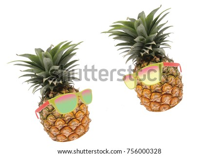 Pineapple with sunglasses talk with love on white isolate background best for tropical cocktail, holidays, vacation, travel and healthy juice theme