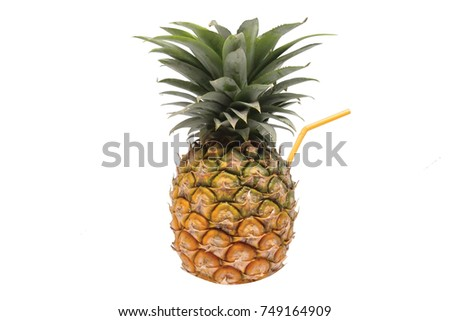 Pineapple with white isolate background best for tropical theme, cocktail, holidays, vacation and healthy juice