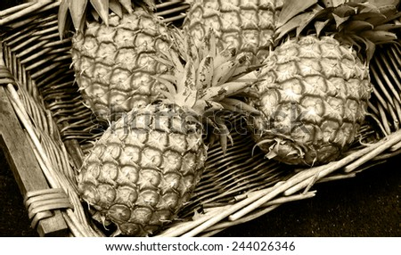 Pineapples in wicker basket at organic farmers market in Paris (France). Aged photo. Sepia. #244026346