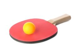 Ping pong racket and ball isolated on white