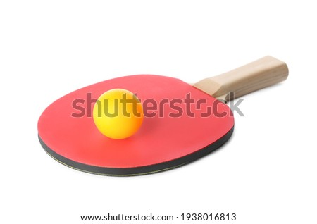 Ping pong racket and ball isolated on white Сток-фото ©