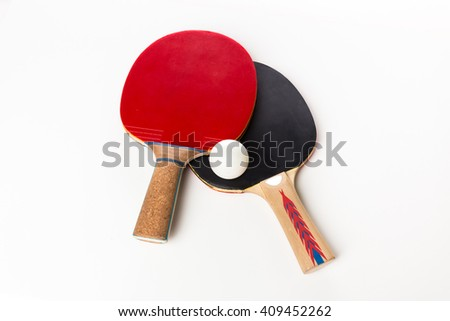 ping-pong rackets and ball, isolated on white Сток-фото ©