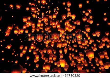 PingSi Sky Lantern Festival in Taipei , Taiwan