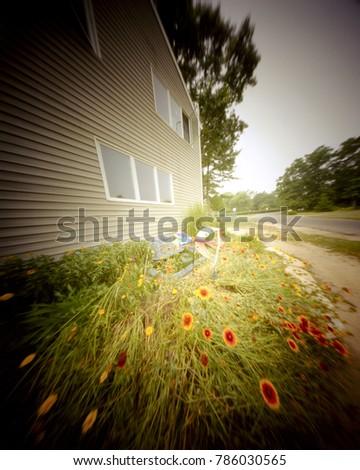 pinhole house in suburban neighborhood #786030565