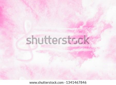 Pink abstract background with clef sign. Music violin G-clef or treble clef in the sky. Music in heaven
