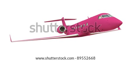 Pink airplane isolated on white with clipping path