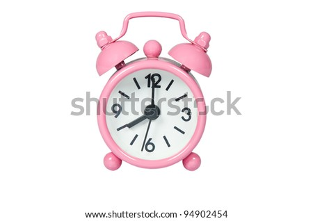 Pink Alarm Clock On White Background